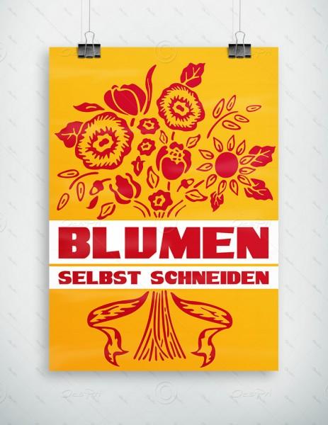 Blumen selbst schneiden - Werbeplakat by Despri, Gelb, DIN A1, P0087