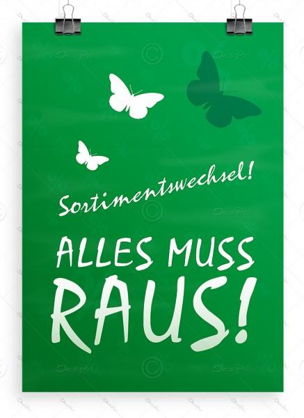 Sortimentswechsel - Alles muss raus! - Plakat, Werbeposter, Grün, P0003C, A1