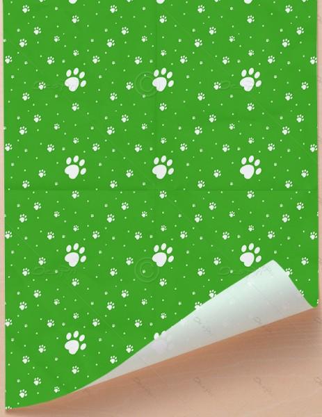 Geschenkpapier - Pfoten - Grün-Weiß, 68 cm x 98 cm, GP0002C1 ab 100 Stück