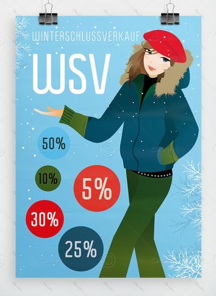 WSV - Winterschlussverkauf - Werbeplakat DIN A1, hellblau, P0058