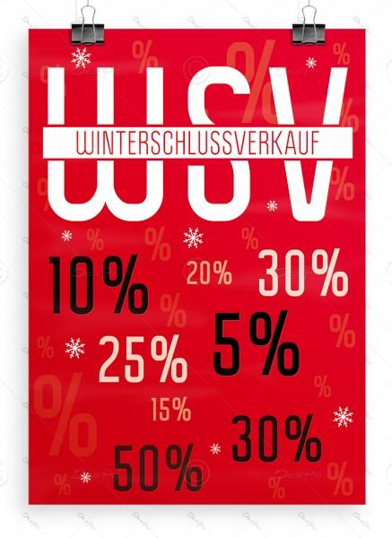 Werbeplakat - WSV - Winterschlussverkauf, rot, DIN A1, P0059A