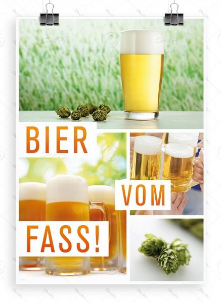 Bier vom Fass! Werbeplakat DIN A1 für Biergarten, Bierlokal, Bierbar, P0063