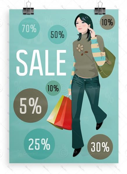 SALE Plakat - Ausverkauf Werbeposter, Pastellgrüncyan, DIN A1, P0052