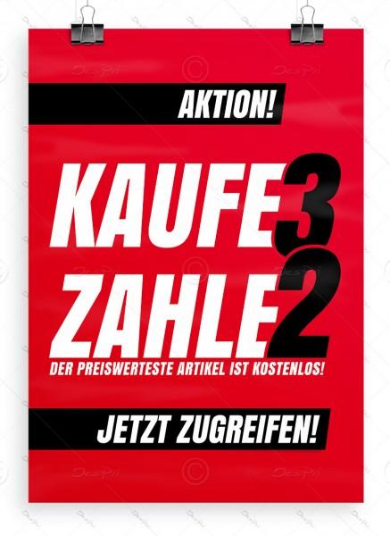Werbeplakat - Kaufe 3 zahle 2 - Aktionsplakat, Rot, DIN A1, P0101, Ladenausstattung