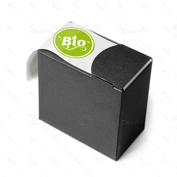 Etiketten auf Rolle, bedruckt - Bio, Rund, Erbsengrün, E0038, Spendebox