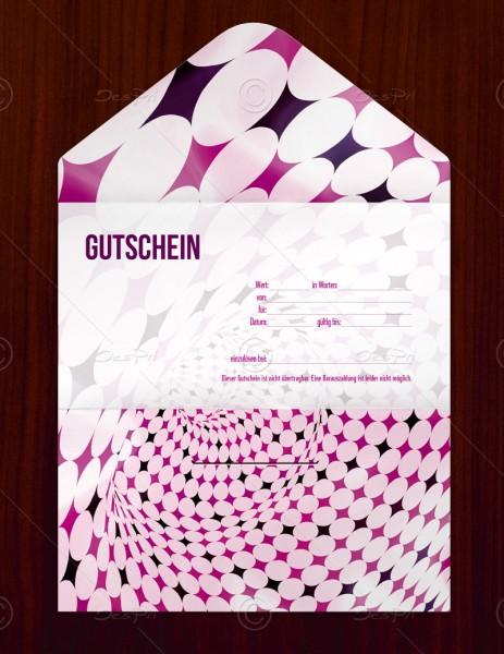 Gutscheinkarte klassisch, 50 Stück, pop art look, Violettmagenta, 19x10 cm, G0008