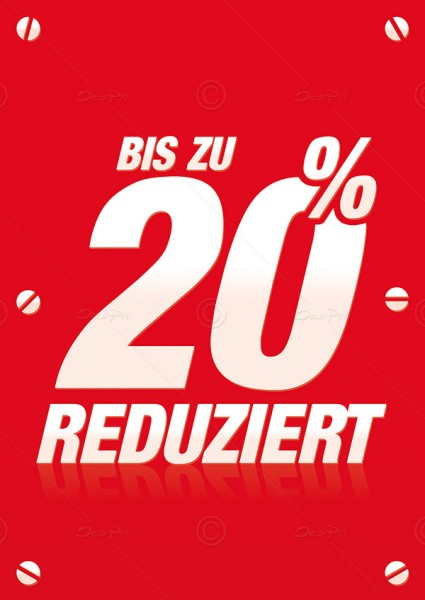 Werbeflyer - Bis zu 20% Reduziert, Verkaufsförderung, Rot, F0010, 25er Set
