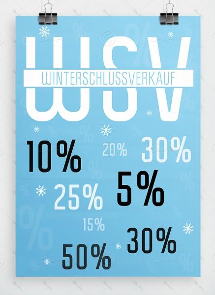WSV - Winterschlussverkauf, Werbeplakat DIN A1 by Despri, hellblau, P0059