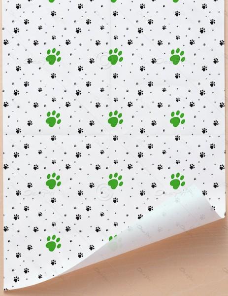 Geschenkpapier - Pfoten - Weiß-Grün, 68 cm x 98 cm, GP0002C2 ab 100 Stück