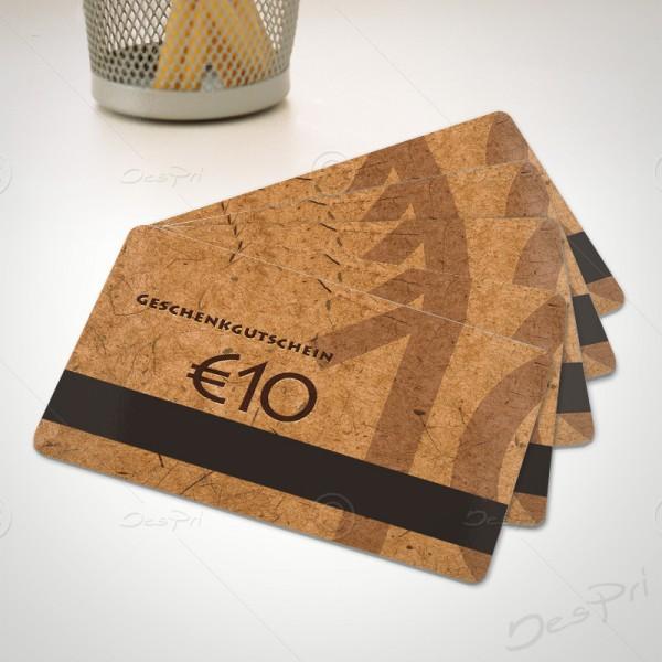 10 Euro Gutscheinkarte, Plastikkarte mit Magnetstreifen, Mino Paper, PK0002A, 50 Stück