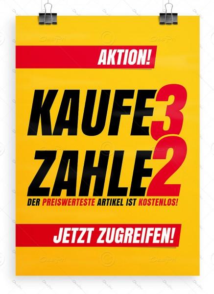 Despri Werbeplakat - Kaufe 3 zahle 2 - Aktionsplakat, Gelb, DIN A1, P0100
