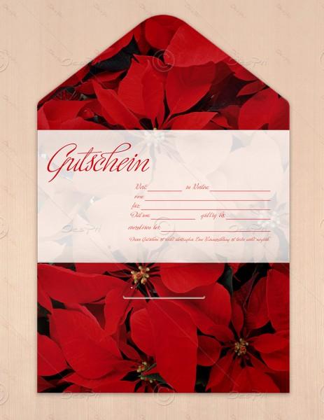 Gutscheinkarte klassisch, 50 Stück, rote Weihnachtsblumen, flower collection, 19x10 cm, G0013