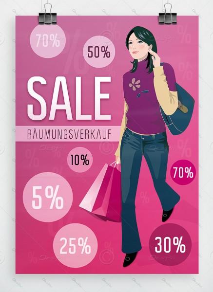 SALE - Räumungsverkauf - Werbeplakat by Despri, pink, DIN A1, P0054A