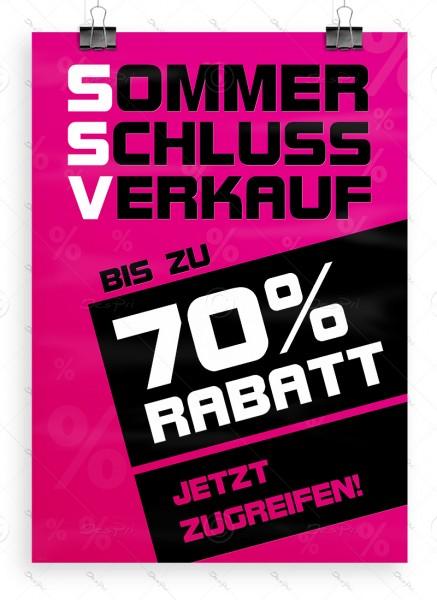 SSV Plakat DIN A1 - Sommerschlussverkauf - bis zu 70% Rabatt, pink, P0043C