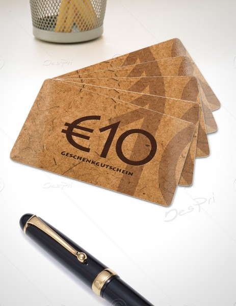 10 Euro Gutscheinkarte, Plastikkarte, Mino Paper look, PK0002A, braun, 50 Stück