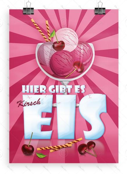 Hier gibt es Kirscheis - Werbeplakat, DIN A1, Eiswerbung, P0028B