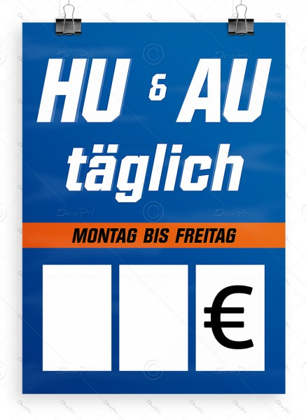 HU und AU täglich - Autowerkstatt Werbeplakat by Despri, DIN A1, P0105