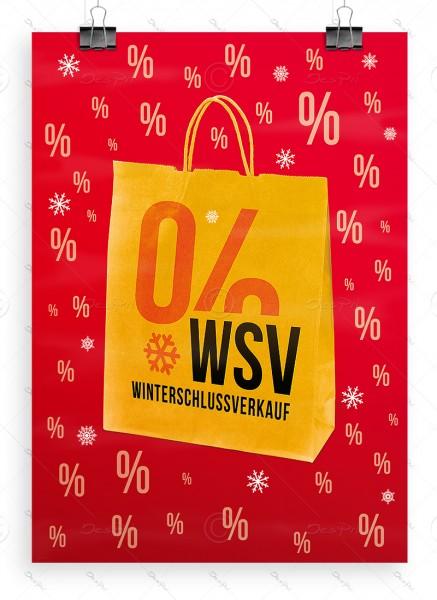 WSV - Winterschlussverkauf, Despri Werbeplakat, rot, DIN A1, P0057