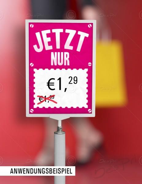Preisschild, Werbeschild - Jetzt nur, Flyer mit Textfeld, F0001C, Pink, 25 Stück
