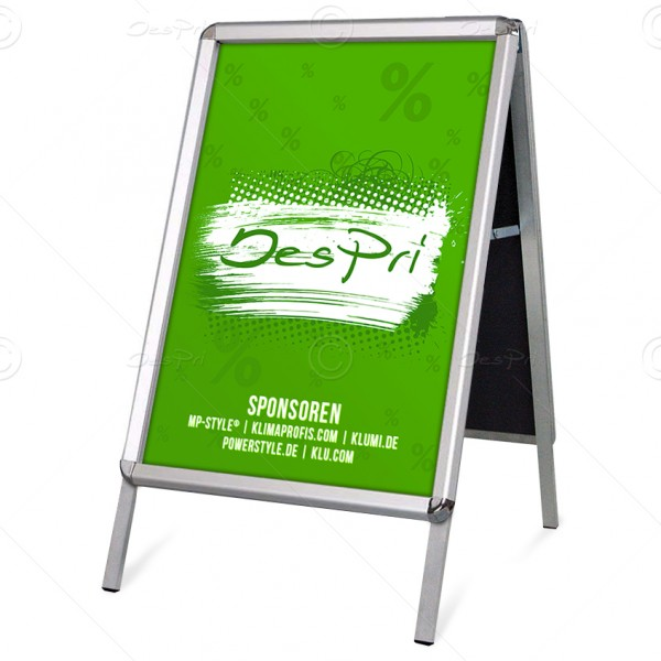 Kundenstopper klassisch, DIN A1, Plakatständer, 25 mm Klapprahmen, Rondoecken