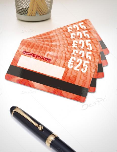 25 Euro Gutschein - Plastikkarten mit Magnetstreifen und Textfeld, PK0001B, 50 Stück
