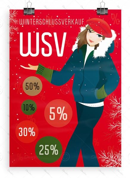 "Despri Werbeplakat ""Winterschlussverkauf"" -  P0058A, WSV Aktionsplakat, rot, DIN A1"