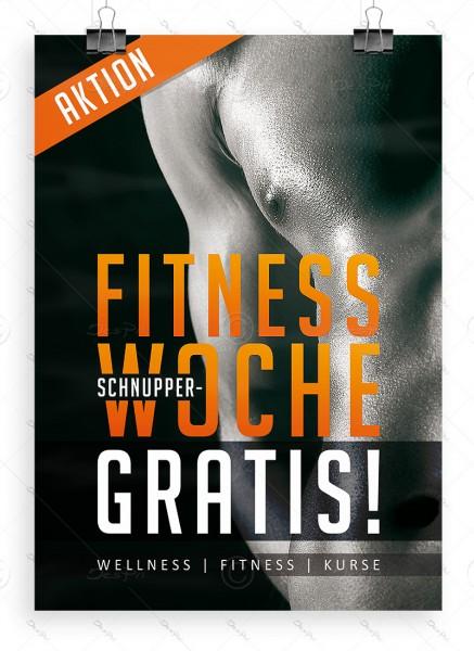 "Werbeplakat ""Fitness Schnupperwoche Gratis"" Poster DIN A1, P0071"