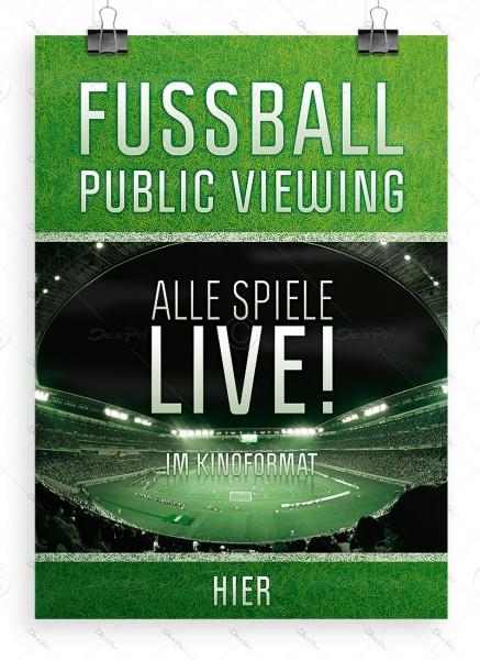 Fussball - Public Viewing - Alle Spiele LIVE! Werbeplakat, DIN A1, P0035