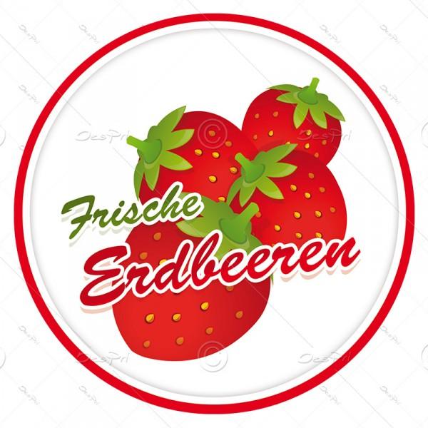 10x Frische Erdbeeren, Schaufenster ablösbare Aufkleber, Rund, UV-Lack, A0002A