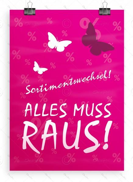 Sortimentswechsel - Alles muss raus! - Plakat, pink, P0003, DIN A1