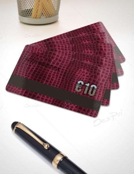 10 Euro Gutscheinkarte, Plastikkarte mit Magnetstreifen, Leder-Look, PK0003A, 50 Stück