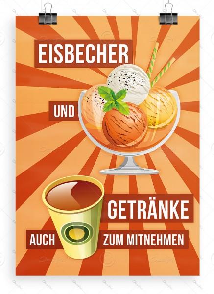 Eisbecher und Getränke auch zum mitnehmen, Plakat, Orangeneis, A1, P0029D