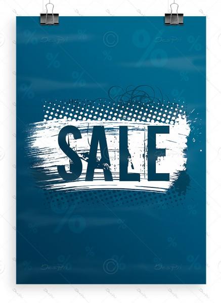 SALE - Plakat - Poster - Werbeplakat, dunkelcyan, DIN A1, P0004E