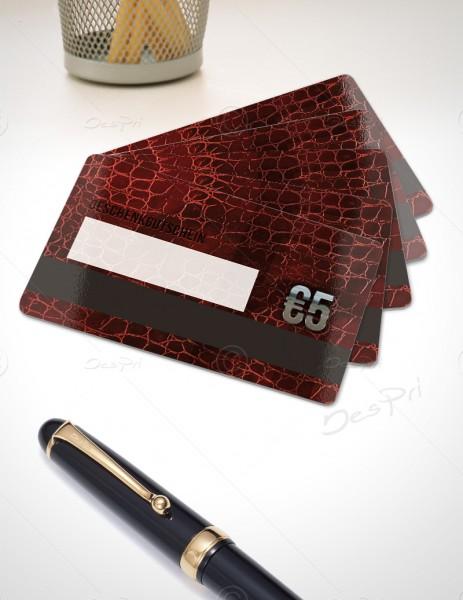 5 Euro Gutscheinkarte, Plastikkarte mit Magnetstreifen und Textfeld, Leder-Look, PK0003, 50 Stück