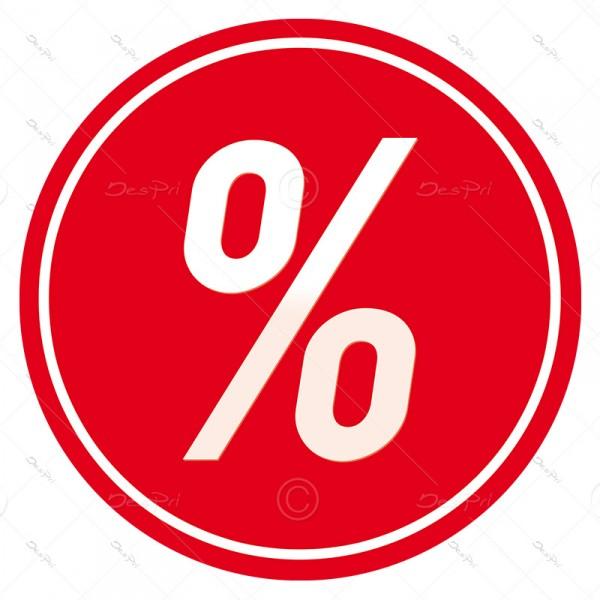 25x Prozent, Schaufenster ablösbare Aufkleber, Rund, Rot, UV-Lack, A0001