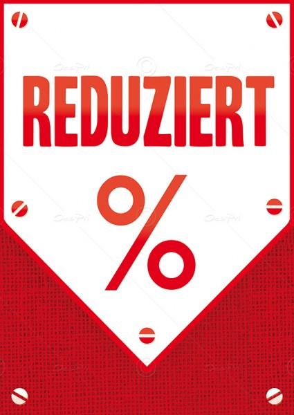 Werbeflyer - Reduziert, Aktionsflyer, Werbeschild, Rot, F0007, 25er Set