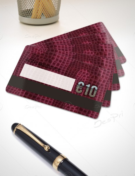 10 Euro Gutscheinkarte, Plastikkarte mit Magnetstreifen und Textfeld, Leder-Look, PK0003A, 50 Stück