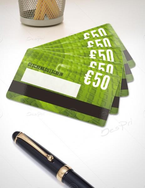 50 Euro Gutschein - Plastikkarten mit Magnetstreifen und Textfeld, PK0001C, 50 Stück