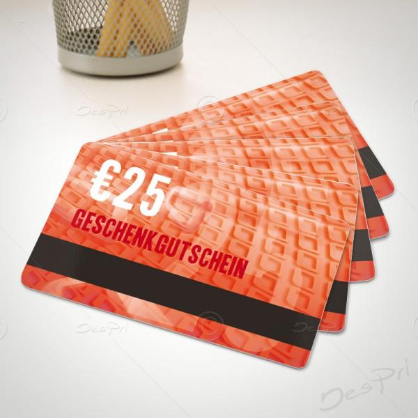25 Euro Gutschein - Plastikkarten - Gutscheinkarten mit Magnetstreifen, PK0001B, 50 Stück