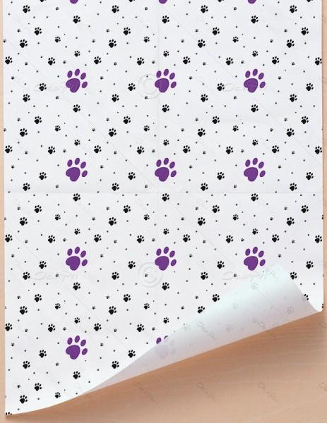 Geschenkpapier - Pfoten - Weiß-Violett, 68 cm x 98 cm, GP0002B ab 100 Stück