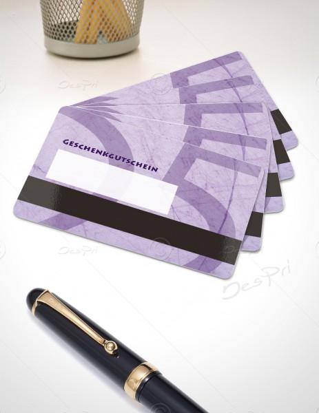 25 Euro Gutscheinkarte, Plastikkarte mit Magnetstreifen und Textfeld, Mino Paper, PK0002B, 50 Stück