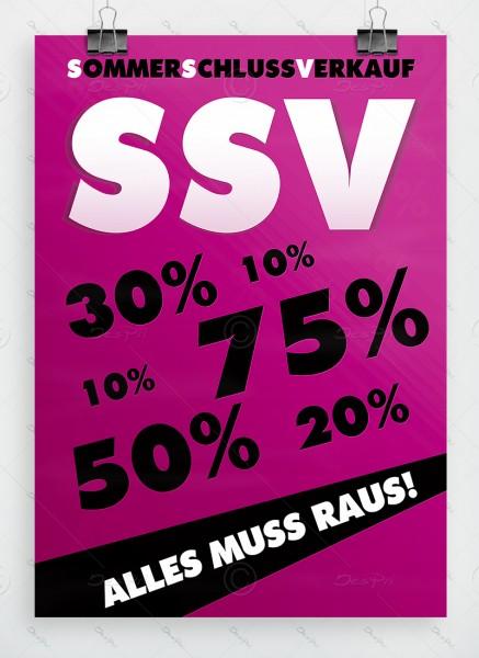 Sommerschlussverkauf - Alles muss raus - Plakat, Violett, DIN A1, P0002C