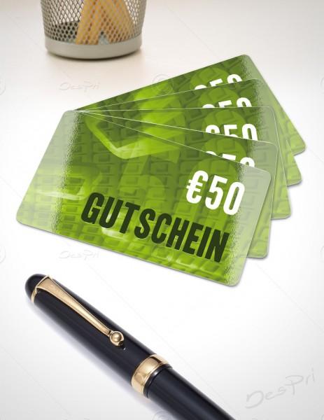 50 Euro Gutschein - Plastikkarten - Gutscheinkarten, PK0001C, 50 Stück