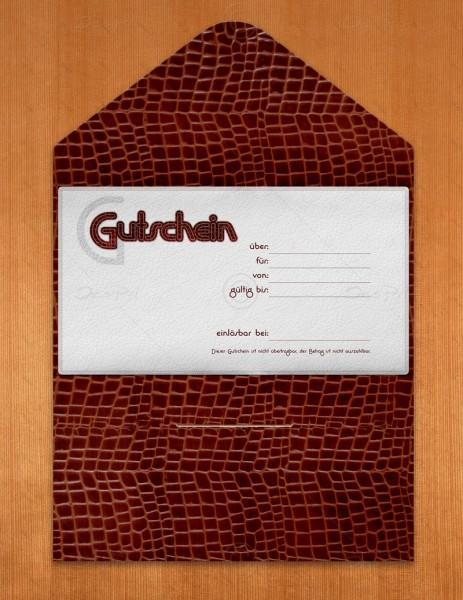 Gutscheinkarte klassisch, 50 Stück, Leder-Look, Geschenkgutschein, 19x10 cm, G0002