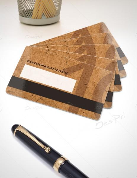 10 Euro Gutscheinkarte, Plastikkarte mit Magnetstreifen und Textfeld, Mino Paper, PK0002A, 50 Stück