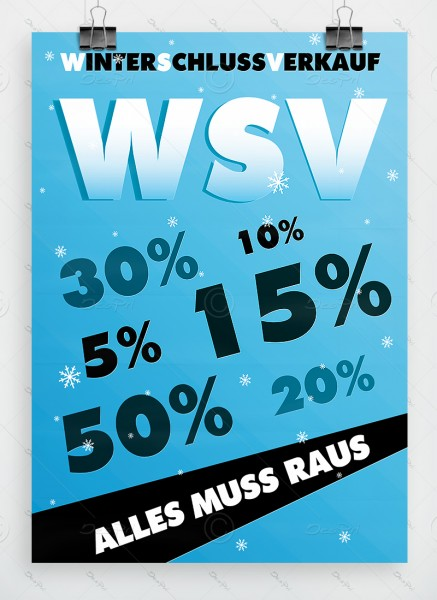 WSV Plakat - Winterschlussverkauf, hellblau, DIN A1, P0061