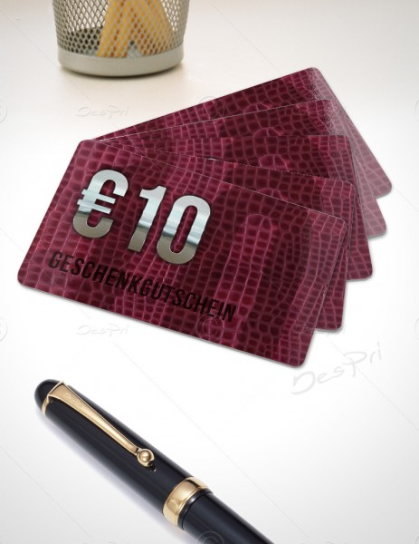 10 Euro Gutscheinkarte, Plastikkarte, Leder-Look, PK0003A, 50 Stück