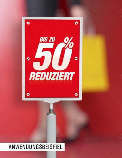 25x Werbeflyer - Bis zu 50% Reduziert, Verkaufsförderung, Rot, F0008
