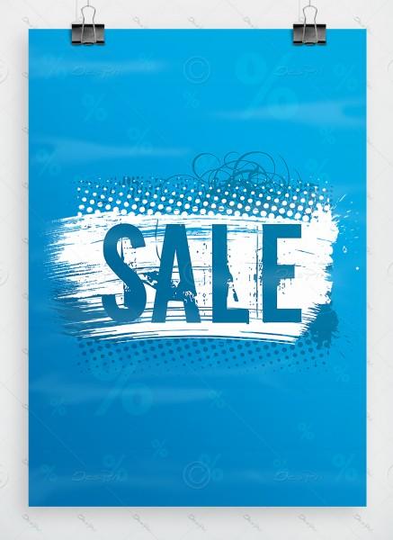 SALE - Plakat - Poster - Werbeplakat, Cyanblau, P0004