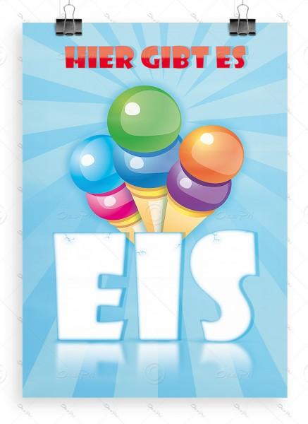 Hier gibt es Eis - Werbeplakat DIN A1, Poster, Eiswerbung, P0022A